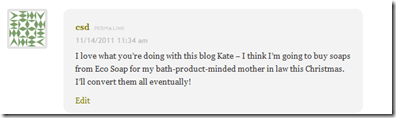 EcoNatural Soap Giveaway winner comment