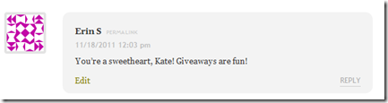 Koko Lunch Bag Giveaway winner comment